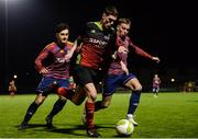 19 March 2019; Dean Kelly of IT Carlow in action against Iliah Cocerhan, right, and Alan Murphy of University of Limerick during the RUSTLERS Third Level CUFL Men's Premier Division Final Final match between Institute of Technology Carlow and University of Limerick at Athlone Town Stadium in Athlone, Co. Westmeath. Photo by Harry Murphy/Sportsfile