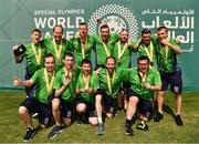 20 March 2019; The Team Ireland seven a-side squad who collected their Bronze Medals on Day Six of the 2019 Special Olympics World Games in Zayed Sports City, Airport Road, Abu Dhabi, United Arab Emirates. Photo by Ray McManus/Sportsfile