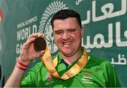 20 March 2019; Team Ireland's William McGrath, a member of Waterford SO Clubs, from Kilmacthomas, Co. Waterford, after the presentation to Team Ireland seven a-side squad who collected their Bronze Medals on Day Six of the 2019 Special Olympics World Games in Zayed Sports City, Airport Road, Abu Dhabi, United Arab Emirates. Photo by Ray McManus/Sportsfile