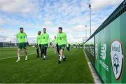 20 March 2019; Republic of Ireland players, from left, Richard Keogh, David McGoldrick, Matt Doherty and Harry Arter following a training session at the FAI National Training Centre in Abbotstown, Dublin. Photo by Stephen McCarthy/Sportsfile