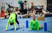 20 March 2019; Jack Byrne, right, and Mark Travers stretch prior to a Republic of Ireland training session at the FAI National Training Centre in Abbotstown, Dublin. Photo by Stephen McCarthy/Sportsfile