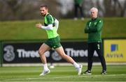 20 March 2019; Conor Hourihane and Republic of Ireland manager Mick McCarthy during a training session at the FAI National Training Centre in Abbotstown, Dublin. Photo by Stephen McCarthy/Sportsfile