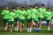 20 March 2019; Conor Hourihane and John Egan, right, lead their team-mates during a Republic of Ireland training session at the FAI National Training Centre in Abbotstown, Dublin. Photo by Stephen McCarthy/Sportsfile