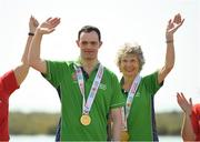 20 March 2019; Team Ireland's Andrew Simington, a member of Blackrock Flyers Special Olympics Club, from Dalkey, Co. Dublin, and his Alternate Shot Team Play Partner Phyl Kelleher as they collect the Gold Medal in the  Level 2 - Unified Alternate Shot Team Play Competition on Day Six of the 2019 Special Olympics World Games in Yas Links, Yas Island, Abu Dhabi, United Arab Emirates  Photo by Ray McManus/Sportsfile