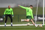 20 March 2019; Alan Judge has a shot on goalkeeper Darren Randolph during a Republic of Ireland training session at the FAI National Training Centre in Abbotstown, Dublin. Photo by Stephen McCarthy/Sportsfile
