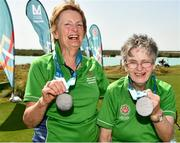 20 March 2019; Team Ireland's Mairead Moroney, a member of the Ennis SOGC, from Ennis, Co. Clare, who has the distinction of being the oldest athlete at the Games, and her Alternate Shot Team Play Partner Jean Molony, left, after they had collected their Silver Medal in the Level 2 - Unified Alternate Shot Team Play Competition on Day Six of the 2019 Special Olympics World Games in Yas Links, Yas Island, Abu Dhabi, United Arab Emirates  Photo by Ray McManus/Sportsfile