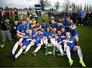 20 March 2019; Carndonagh Community Scool players celebrate following the FAI Schools Dr. Tony O'Neill Senior National Cup Final match between Carndonagh Community School and Midleton CBS at Home Farm FC in Whitehall, Dublin. Photo by David Fitzgerald/Sportsfile