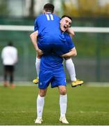 20 March 2019; Kieran Farren of Carndonagh Community Scool, right, and team-mate Fionn McClure celebrate following the FAI Schools Dr. Tony O'Neill Senior National Cup Final match between Carndonagh Community School and Midleton CBS at Home Farm FC in Whitehall, Dublin. Photo by David Fitzgerald/Sportsfile