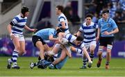 20 March 2019; Cian O'Brien of Blackrock College is tackled by David Woods, bottom, and Sean Egan of St Michael's College during the Bank of Ireland Leinster Schools Junior Cup Final match between Blackrock College and St Michael's College at Energia Park in Donnybrook, Dublin. Photo by Piaras Ó Mídheach/Sportsfile