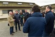 20 March 2019; Trainer John Oxx with Kevin O'Ryan from Racing TV and members of the media during the launch of 2019 Flat Season at John Oxx's Currabeg Stables in Currabeg, Co Kildare. Photo by Matt Browne/Sportsfile