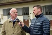 20 March 2019; Trainer John Oxx with Kevin O'Ryan from Racing TV during the launch of 2019 Flat Season at John Oxx's Currabeg Stables in Currabeg, Co Kildare. Photo by Matt Browne/Sportsfile