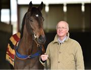 20 March 2019; Trainer John Oxx with his Filly Skitter Skater during the launch of 2019 Flat Season at John Oxx's Currabeg Stables in Currabeg, Co Kildare. Photo by Matt Browne/Sportsfile