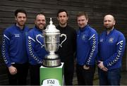 20 March 2019; Former Republic of Ireland international Keith Fahey, third from left, alongside, from left, Darren O'Grady, Glen Madden, Brian Carroll and Conor Blighe from Newtown Rangers following the FAI Senior Cup Qualifying Round Draw at FAI NTC in Abbotstown, Dublin. Photo by David Fitzgerald/Sportsfile