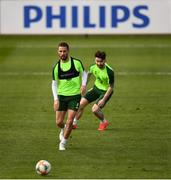 20 March 2019; Conor Hourihane and Sean Maguire during a Republic of Ireland training session at the FAI National Training Centre in Abbotstown, Dublin. Photo by Stephen McCarthy/Sportsfile