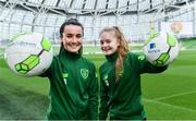 21 March 2019; Media personality and mum of three Yvonne Connolly and her daughter Ali Keating officially kicked off the FAI Aviva Soccer Sisters Easter Football Festival this morning at Aviva Stadium alongside Ireland international players Niamh Farrelly and Isibeal Atkinson. This year's programme has been revamped, now offering FREE camps over the Easter period (15th – 26th April) for girls aged between 6 – 14 years old. Over 6,000 girls from clubs around the country are expected to take part. See soccersisters.ie or #SafeToDream for details. In attendance at the launch are Republic of Ireland internationals Niamh Farrelly, left, and Isibeal Atkinson at the Aviva Stadium in Dublin. Photo by Sam Barnes/Sportsfile