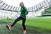 21 March 2019; Media personality and mum of three Yvonne Connolly and her daughter Ali Keating officially kicked off the FAI Aviva Soccer Sisters Easter Football Festival this morning at Aviva Stadium alongside Ireland international players Niamh Farrelly and Isibeal Atkinson. This year's programme has been revamped, now offering FREE camps over the Easter period (15th – 26th April) for girls aged between 6 – 14 years old. Over 6,000 girls from clubs around the country are expected to take part. See soccersisters.ie or #SafeToDream for details. In attendance at the launch is Republic of Ireland international Isibeal Atkinson at the Aviva Stadium in Dublin. Photo by Sam Barnes/Sportsfile