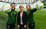 21 March 2019; Media personality and mum of three Yvonne Connolly and her daughter Ali Keating officially kicked off the FAI Aviva Soccer Sisters Easter Football Festival this morning at Aviva Stadium alongside Ireland international players Niamh Farrelly and Isibeal Atkinson. This year's programme has been revamped, now offering FREE camps over the Easter period (15th – 26th April) for girls aged between 6 – 14 years old. Over 6,000 girls from clubs around the country are expected to take part. See soccersisters.ie or #SafeToDream for details. In attendance at the launch are Republic of Ireland internationals Niamh Farrelly, left, and Isibeal Atkinson, right, with Sue Ronan, Head of Womans Football, FAI, at the Aviva Stadium in Dublin. Photo by Sam Barnes/Sportsfile