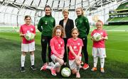 21 March 2019; Media personality and mum of three Yvonne Connolly and her daughter Ali Keating officially kicked off the FAI Aviva Soccer Sisters Easter Football Festival this morning at Aviva Stadium alongside Ireland international players Niamh Farrelly and Isibeal Atkinson. This year's programme has been revamped, now offering FREE camps over the Easter period (15th – 26th April) for girls aged between 6 – 14 years old. Over 6,000 girls from clubs around the country are expected to take part. See soccersisters.ie or #SafeToDream for details. In attendance at the launch are from left, Ciara Purcell, aged 12, Niamh Farrelly, Republic of Ireland International, Ava Cummins, aged 11, Sue Ronan, Head of Women's Football, FAI, Isabelle Weber, aged 11, Isibeal Atkinson, Republic of Ireland International, Eden Murphy, aged 9, at the Aviva Stadium in Dublin. Photo by Sam Barnes/Sportsfile