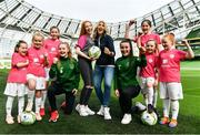 21 March 2019; Media personality and mum of three Yvonne Connolly and her daughter Ali Keating officially kicked off the FAI Aviva Soccer Sisters Easter Football Festival this morning at Aviva Stadium alongside Ireland international players Niamh Farrelly and Isibeal Atkinson. This year's programme has been revamped, now offering FREE camps over the Easter period (15th – 26th April) for girls aged between 6 – 14 years old. Over 6,000 girls from clubs around the country are expected to take part. See soccersisters.ie or #SafeToDream for details. In attendance at the launch are, from left, Penny Roache, Pixi Roache, Abbie Larkin, Isibeal Atkinson, Ali Keating, Yvonne Connolly, Niamh Farrelly, Emily Short, Caoimhe Nannery and Eden Murphy at the Aviva Stadium in Dublin. Photo by Sam Barnes/Sportsfile