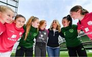 21 March 2019; Media personality and mum of three Yvonne Connolly and her daughter Ali Keating officially kicked off the FAI Aviva Soccer Sisters Easter Football Festival this morning at Aviva Stadium alongside Ireland international players Niamh Farrelly and Isibeal Atkinson. This year's programme has been revamped, now offering FREE camps over the Easter period (15th – 26th April) for girls aged between 6 – 14 years old. Over 6,000 girls from clubs around the country are expected to take part. See soccersisters.ie or #SafeToDream for details. In attendance at the launch are, from left, Pixie Roache, aged 8, Abbie Larkin, aged 13, Isibeal Atkinson, Republic of Ireland International, Ali Keating, aged 13,  Yvonne Connolly, Niamh Farrelly, Republic of Ireland International, and Emily Short, aged 12, at the Aviva Stadium in Dublin. Photo by Sam Barnes/Sportsfile