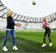 21 March 2019; Media personality and mum of three Yvonne Connolly and her daughter Ali Keating officially kicked off the FAI Aviva Soccer Sisters Easter Football Festival this morning at Aviva Stadium alongside Ireland international players Niamh Farrelly and Isibeal Atkinson. This year's programme has been revamped, now offering FREE camps over the Easter period (15th – 26th April) for girls aged between 6 – 14 years old. Over 6,000 girls from clubs around the country are expected to take part. See soccersisters.ie or #SafeToDream for details. In attendance at the launch are Yvonne Connolly, and her daughter, Ali Keating, aged 13, at the Aviva Stadium in Dublin. Photo by Sam Barnes/Sportsfile