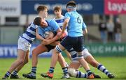 20 March 2019; Dan Barron of St Michael's College is tackled by Cian O'Brien, left, and Jamie McLoughlin of Blackrock College during the Bank of Ireland Leinster Schools Junior Cup Final match between Blackrock College and St Michael's College at Energia Park in Donnybrook, Dublin. Photo by Piaras Ó Mídheach/Sportsfile