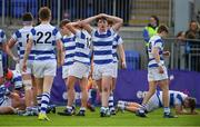20 March 2019; Cian O'Brien of Blackrock College, centre, and his team-mates react to a second half try scored by Sean Egan of St Michael's College during the Bank of Ireland Leinster Schools Junior Cup Final match between Blackrock College and St Michael's College at Energia Park in Donnybrook, Dublin. Photo by Piaras Ó Mídheach/Sportsfile