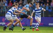 20 March 2019; Michael Sadlier of St Michael's College is tackled by Blackrock College players, from left, Cian O'Brien, Will Fitzgerald, and Charlie Leahy during the Bank of Ireland Leinster Schools Junior Cup Final match between Blackrock College and St Michael's College at Energia Park in Donnybrook, Dublin. Photo by Piaras Ó Mídheach/Sportsfile