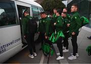 21 March 2019; Republic of Ireland players, including James Collins, right, on the squad's arrival at Gibraltar International Airport ahead of the UEFA EURO2020 Qualifier between Republic of Ireland and Gibraltar. Photo by Stephen McCarthy/Sportsfile