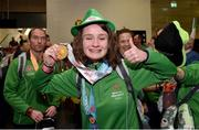 22 March 2019; Team Ireland's Sarah-Louise Rea, a member of Lisburn 2gether SOC, from Lisburn, Co. Antrim, who won Gold in Badminton on her return from the 2019 World Summer Games Abu Dhabi at Dublin Airport in Dublin. Photo by Matt Browne/Sportsfile