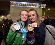 22 March 2019; Team Ireland's Megan McElherron, a member of the Saddle & Reins SOC, from Newry, Co. Down, who won Gold and Silver in Equestrian with her sister Melissa on her return from the 2019 World Summer Games Abu Dhabi at Dublin Airport in Dublin. Photo by Matt Browne/Sportsfile