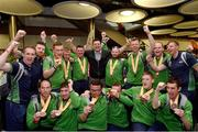 22 March 2019; The Team Ireland soccer team who won bronze medals with former Republic of Ireland International Niall Quinn on their return from the 2019 World Summer Games Abu Dhabi at Dublin Airport in Dublin. Photo by Matt Browne/Sportsfile