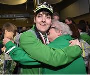 22 March 2019; Team Ireland's Sarah Kilmartin, a member of Athlone SOC, from Athlone, Co. Westmeath, who won gold with the Basketball team with her mother Lilly on her return from the 2019 World Summer Games Abu Dhabi at Dublin Airport in Dublin. Photo by Matt Browne/Sportsfile