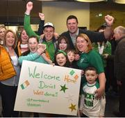 22 March 2019; Team Ireland's Daniel Byrne, a member of the United Warriors Special Olympics Club, from Lucan, Co. Dublin, who won a bronze medal with the Team Ireland soccer team with his family and former Republic of Ireland International Niall Quinn on his return from the 2019 World Summer Games Abu Dhabi at Dublin Airport in Dublin. Photo by Matt Browne/Sportsfile