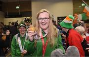 22 March 2019; Team Ireland's Siobhan Dunne, a member of Strabane SOC, from Strabane, Co. Tyrone, who won gold with the basketball team on her return from the 2019 World Summer Games Abu Dhabi at Dublin Airport in Dublin. Photo by Matt Browne/Sportsfile