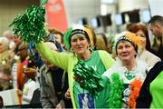 22 March 2019; Supporters Theresa Murphy, left, awaits the arrival of her son Stephen with his aunt Helen as Team Ireland athletes arrive home from the 2019 World Summer Games Abu Dhabi at Dublin Airport in Dublin. Photo by Ray McManus/Sportsfile