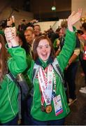 22 March 2019; Team Ireland's Aine McDermott, a member of the No Limits Club, from Athenry, Co. Galway, as Team Ireland athletes arrive home from the 2019 World Summer Games Abu Dhabi at Dublin Airport in Dublin. Photo by Ray McManus/Sportsfile