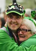22 March 2019; Team Ireland's Sarah Kilmartin, a member of Athlone SOC, from Athlone, Co. Westmeath, who won gold with the Basketball team is welcomed home by her mother Lilly on her return from the 2019 World Summer Games Abu Dhabi at Dublin Airport in Dublin. Photo by Ray McManus/Sportsfile