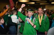 22 March 2019; Team Ireland's Francis Power, a member of the Navan Arch Club, from Navan, Co. Meath, and right Team Ireland's Thomas O'Herlihy, a member of COPE Foundation, from Co. Cork, on their return from the 2019 World Summer Games Abu Dhabi at Dublin Airport in Dublin Photo by Ray McManus/Sportsfile