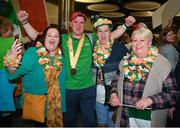22 March 2019; Team Ireland's William McGrath, a member of Waterford SO Clubs, from Kilmacthomas, Co. Waterford, with supporters on his return from the 2019 World Summer Games Abu Dhabi at Dublin Airport in Dublin Photo by Ray McManus/Sportsfile