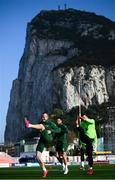22 March 2019; Republic of Ireland players, from left, Glenn Whelan, Conor Hourihane and Shane Duffy in front of the Rock of Gibraltar during a Republic of Ireland training session at Victoria Stadium in Gibraltar. Photo by Stephen McCarthy/Sportsfile
