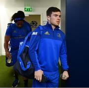 22 March 2019; Luke McGrath, right, and Joe Tomane of Leinster arrive ahead of the Guinness PRO14 Round 18 match between Edinburgh and Leinster at BT Murrayfield Stadium in Edinburgh, Scotland. Photo by Ramsey Cardy/Sportsfile