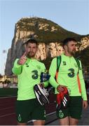 22 March 2019; James Collins, left, and Enda Stevens during a Republic of Ireland training session at Victoria Stadium in Gibraltar. Photo by Stephen McCarthy/Sportsfile
