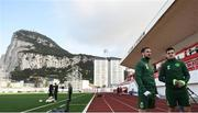 22 March 2019; Conor Hourihane and John Egan during a Republic of Ireland training session at Victoria Stadium in Gibraltar. Photo by Stephen McCarthy/Sportsfile