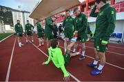 22 March 2019; James McClean stretches the leg of Jeff Hendrick during a Republic of Ireland training session at Victoria Stadium in Gibraltar. Photo by Stephen McCarthy/Sportsfile