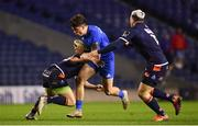 22 March 2019; Jimmy O'Brien of Leinster is tackled by James Johnstone, left, and Matt Scott of Edinburgh during the Guinness PRO14 Round 18 match between Edinburgh and Leinster at BT Murrayfield Stadium in Edinburgh, Scotland. Photo by Ramsey Cardy/Sportsfile