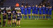 22 March 2019; Players from both teams stand for a minutes silence ahead of the Guinness PRO14 Round 18 match between Edinburgh and Leinster at BT Murrayfield Stadium in Edinburgh, Scotland. Photo by Ramsey Cardy/Sportsfile