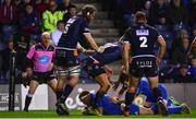 22 March 2019; Seán Cronin of Leinster dives over to score his side's first try during the Guinness PRO14 Round 18 match between Edinburgh and Leinster at BT Murrayfield Stadium in Edinburgh, Scotland. Photo by Ramsey Cardy/Sportsfile