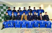22 March 2019; In attendance during the Leinster Rugby Schools Top 15 Jersey Presentation are, front row, from left, Henry Godson of Gonzaga, Andrew Synnott of Belvedere, Jack Boyle of St Michael's, Jack Barry of Gonzaga, John Fish of St Michael's, Mark Hernan of St Michaels, Tom Gilheany of Clongowes and Will Hickey of St Michael's, and backrow from left, Rob Gilsenan of St Michael's Chris Cosgrove of St Michael's, Matthew Grogan of Belvedere, Andrew Smith of St Michael's, James Reynolds of CBC, Jack Connolly of Gonzaga and Conor Hennessy of Gonzaga at BOI Ballsbridge in Dublin. Photo by Sam Barnes/Sportsfile