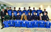 22 March 2019; In attendance during the Leinster Rugby Schools Top 15 Jersey Presentation are, front row, from left, Henry Godson of Gonzaga, Andrew Synnott of Belvedere, Jack Boyle of St Michael's, Jack Barry of Gonzaga, John Fish of St Michael's, Mark Hernan of St Michaels, Tom Gilheany of Clongowes and Will Hickey of St Michael's, and back row from left, Tony Ward, Irish Independent, Vinnie Milroy, Bank of Ireland, Rob Gilsenan of St Michael's Chris Cosgrove of St Michael's, Matthew Grogan of Belvedere, Andrew Smith of St Michael's, James Reynolds of CBC, Jack Connolly of Gonzaga, Conor Hennessy of Gonzaga and Conor Montayne, Leinster Rugby Schools Chairperson, at BOI Ballsbridge in Dublin. Photo by Sam Barnes/Sportsfile